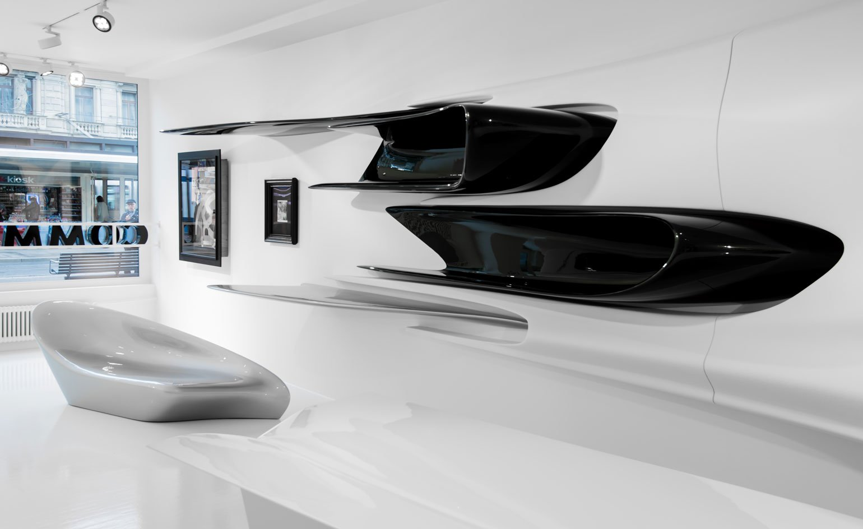 El diseño de una exposición en Suiza, uno de los últimos proyectos de Zaha Hadid